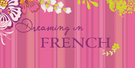 Dreaming in French by Pat Bravo. Fabrics with shades of pink and purple, kiwi and chocolate.