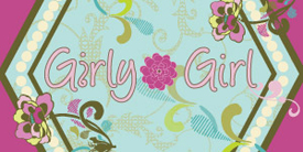 Girly Girl by Pat Bravo. Girly pink fabric prints for adults and children.