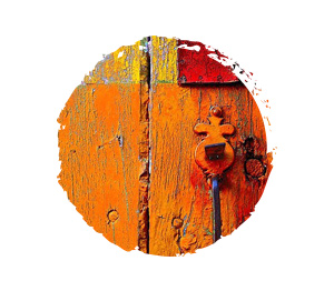 Color Your World - Orange. Orange Wooden Door.